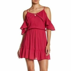 Wild Pearl Cold-Shoulder Pink Ruffle Dress, Large